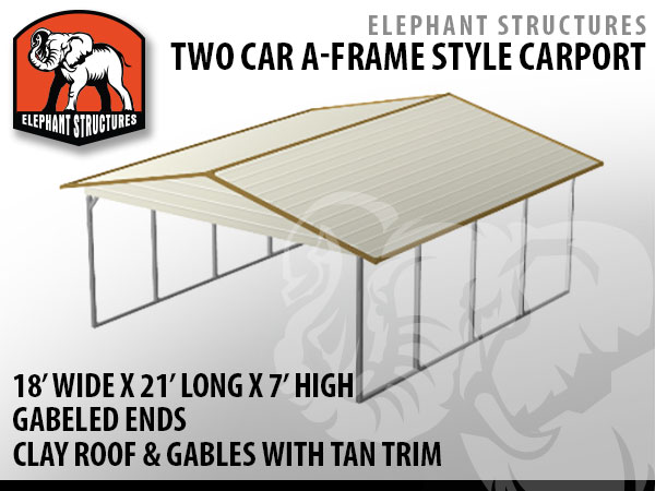Two car metal carport 18 39 x 21 39 x 7 39 for 1 495 ebay for Carport auto auction