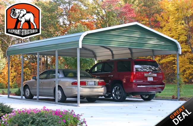Elephant Carport Shelters : Deluxe car metal carport for galvanized steel
