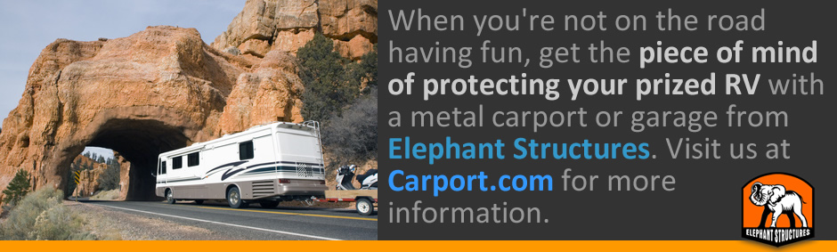 Protect your prized RV with a metal carport or garage from Elephant Structures.