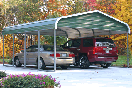 IN Indiana deluxe two car car port cover