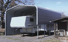 RV cover carport with fith-wheel camper