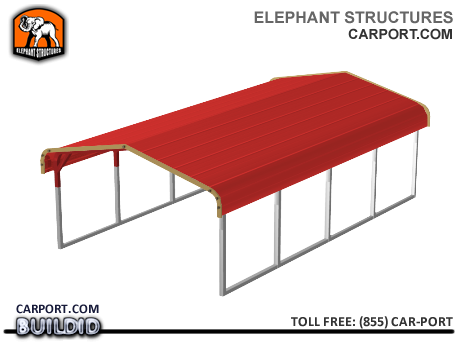 Standard 12x21x5 Metal Carport for One Car Metal Carports - Elephant Structures