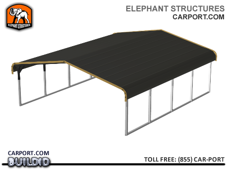 Standard 18x21x5 Metal Carport for Two Cars Metal Carports - Carport.com