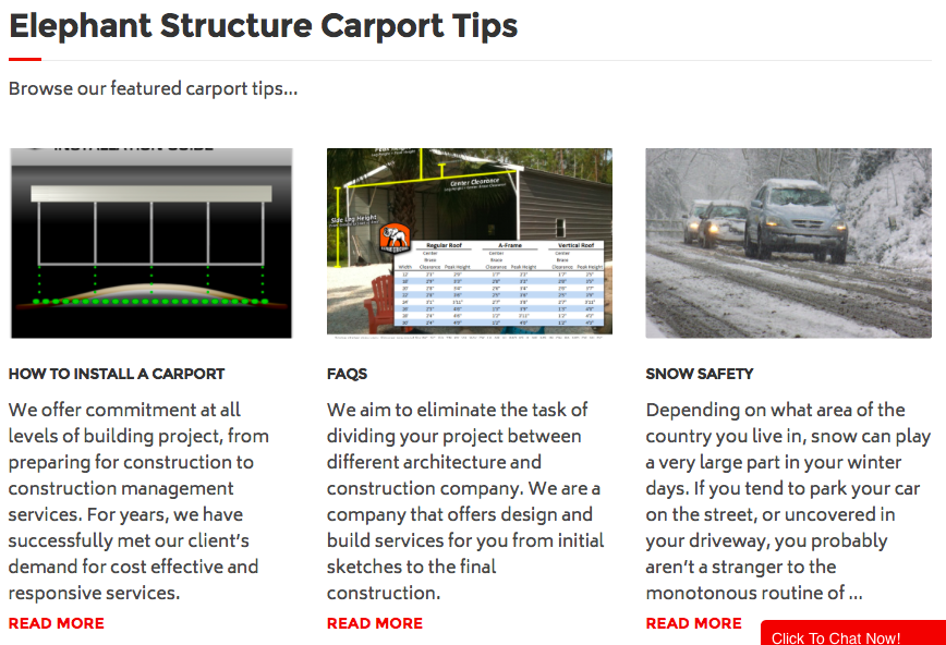 Elephant Structure Carport tips page, how to install a carport, FAQ's, and snow safety.