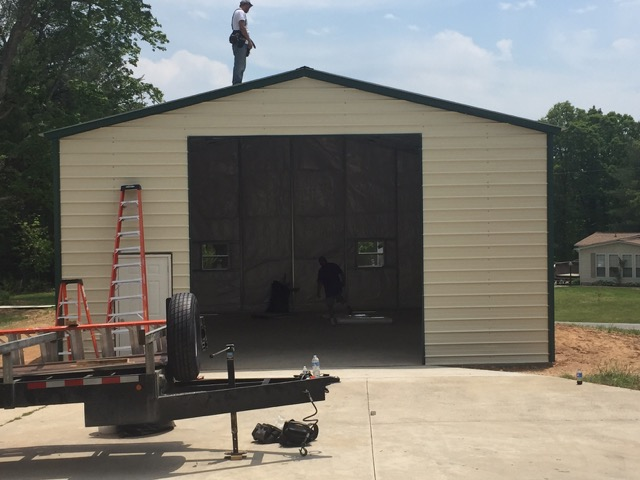 Custom Commercial Metal Garage with 1050 sq. ft. of storage space.