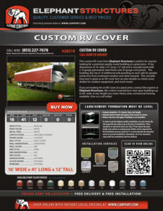 16x41 Custom RV Cover with White Roof and White Trim