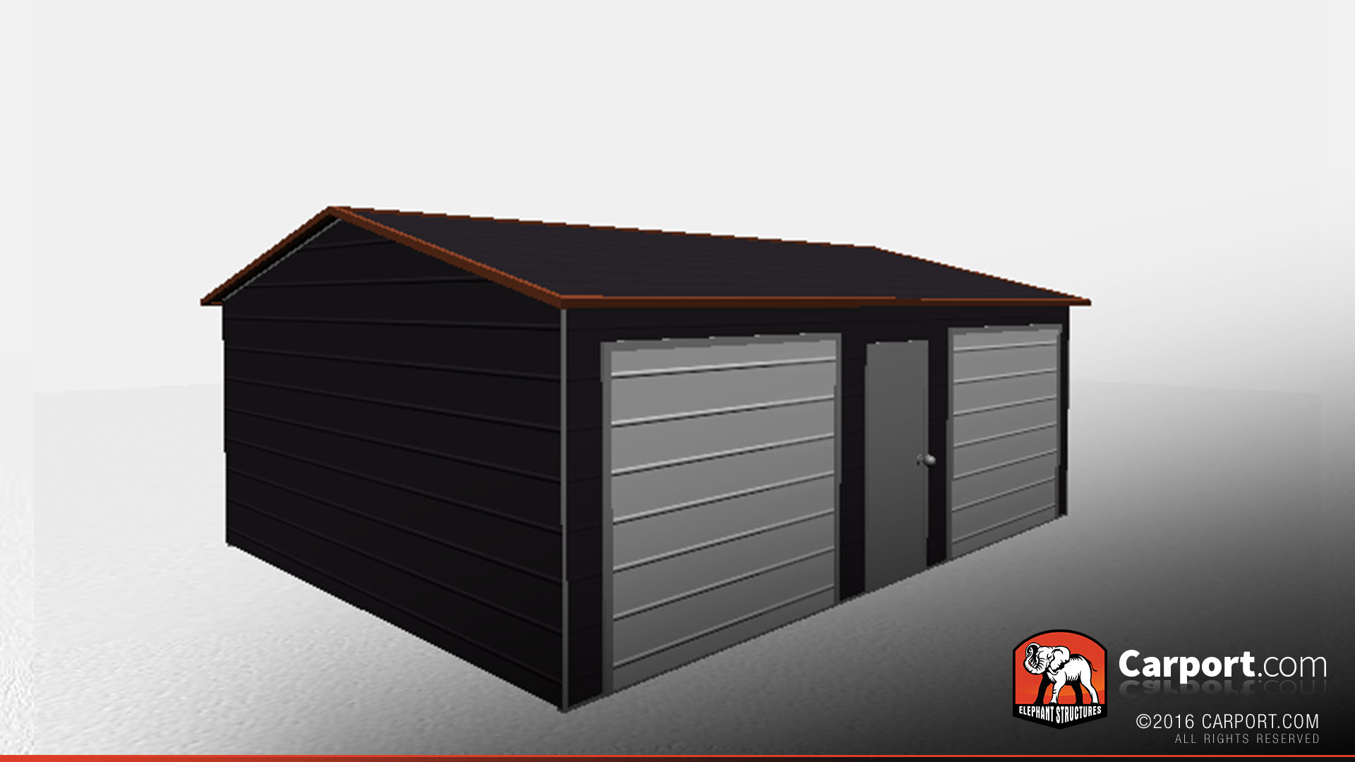 18 X 24 Two Car Metal Garage With Boxed Eave Roof