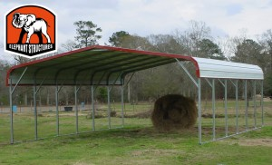 Carports like this one are often used for agricultural purposes.