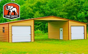 RV Carports with Flanked Garages by Carport.com