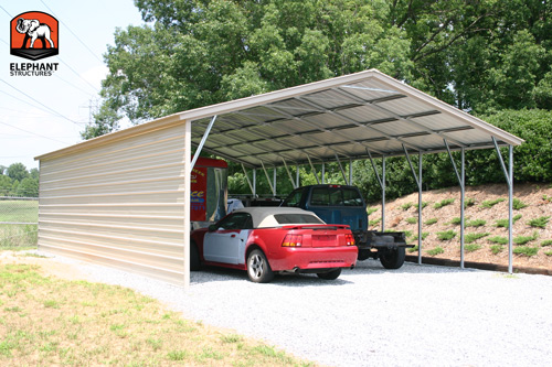 Car Maintenance made possible by a metal carport