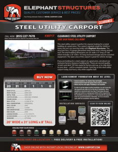 20x31x8 Steel Utility Carport with Dark Gray Roof and Gray Walls.