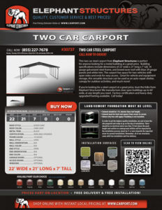 22x21x7 Two Car Carport with Dark Gray Roof and Black Trim