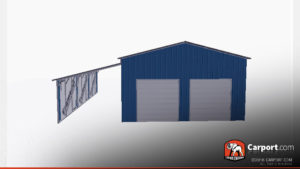36x36 Metal Garage with Lean-to 1