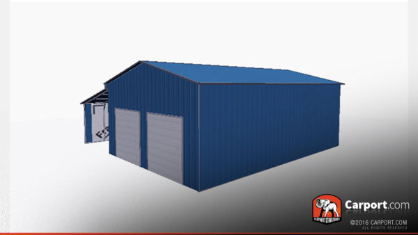 36x36 Metal Garage with Lean-to 2