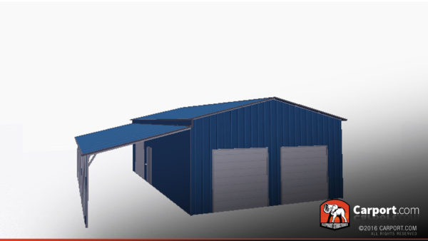 36x36 Metal Garage with Lean-to 3