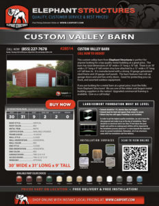 30x31 Custom Valley Barn with Extra Lean-to