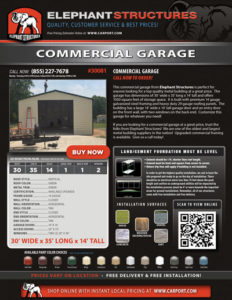 30x35 Commercial Garage with 14x14 Garage Door