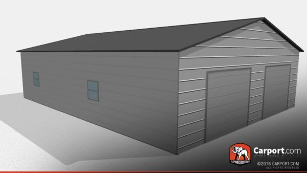 Side view of a two car garage building with two roll up garage doors and two windows on the side.