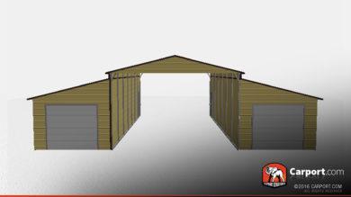 30x40x12-ridgeline-barn-w-two-garage-doors-32329-front