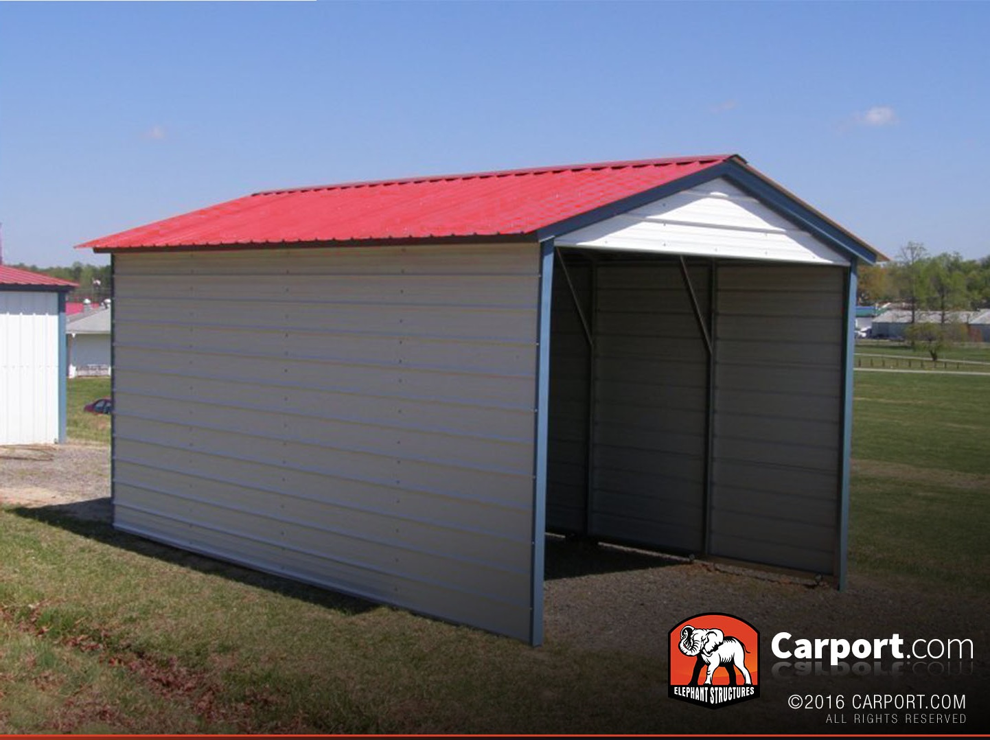 1 car metal carport 12 39 x 21 39 with vertical roof get for Carport shop
