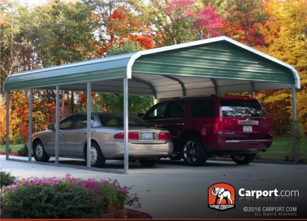 12x26 Single Car Carport with Green Roof and White Trim