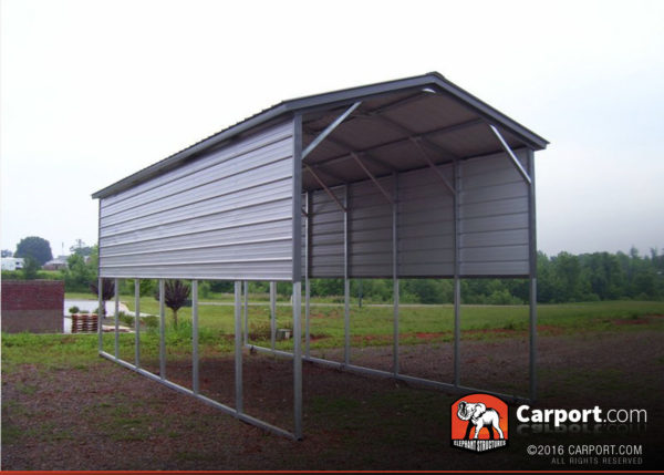 12x31 RV Carport with Gray Vertical Roof and Dark Gray Trim