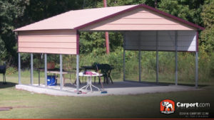 18x21 Two Car Carport with Boxed Eave Roof