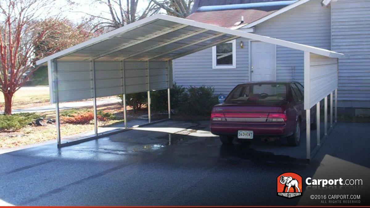 2 car boxed eave carport 18 39 x 21 39 shop metal carports for Carport shop