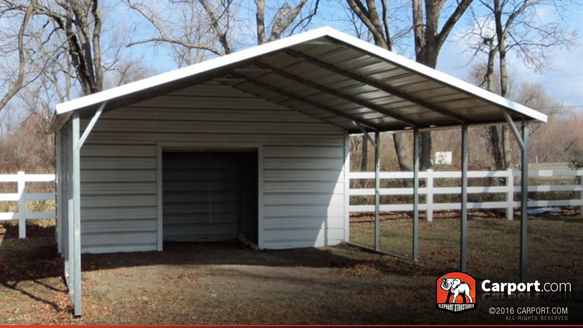 Carport boxed eave roof 18 39 x 26 39 shop metal carports for Carport with storage shed attached