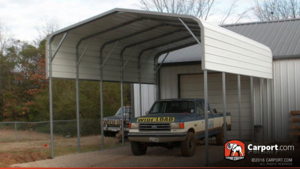 18x26 RV Carport with White Regular Roof and White Walls