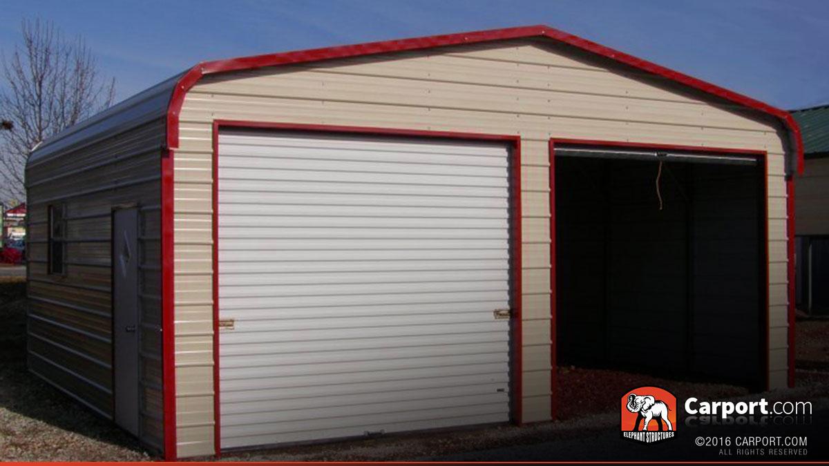Metal garage two car 18 39 x 21 39 x 9 39 shop metal garages for Two car garage with carport