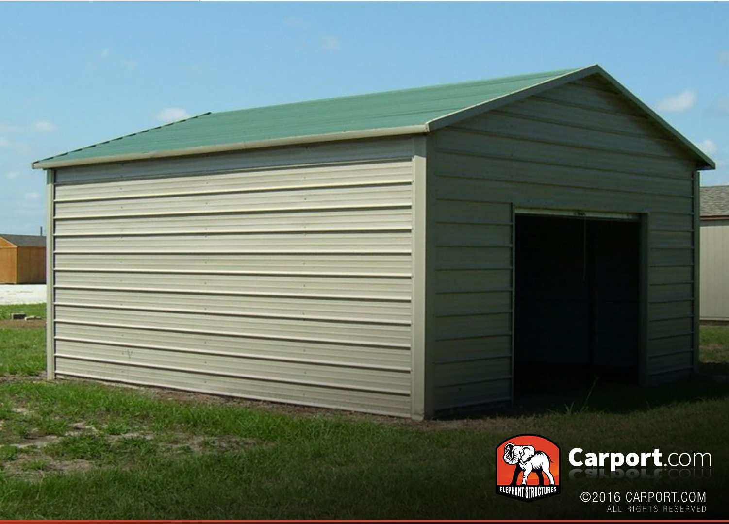 Metal garage 12 39 x 21 39 boxed eave roof shop metal for Carports online