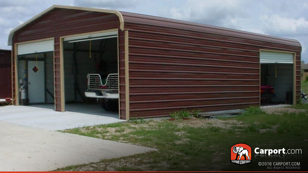 Metal building garage for two cars 22 39 x 31 39 shop steel for Building a two car garage