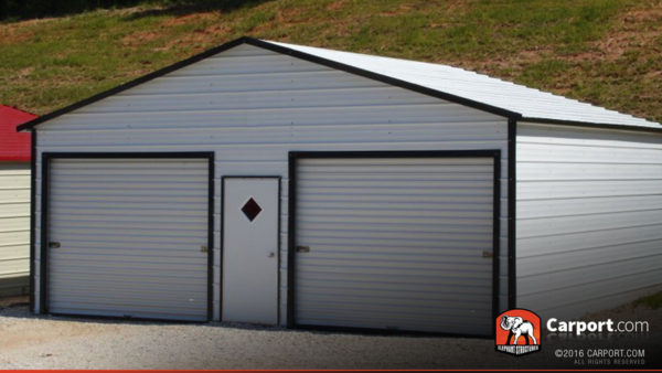 24x21 Metal Garage with White Roof and Black Trim