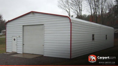 24x36 Metal Garage with Regular Roof