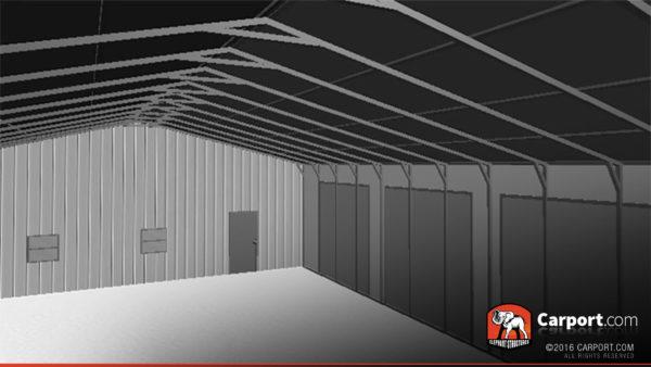 36x81 Steel Garage Drive Interior