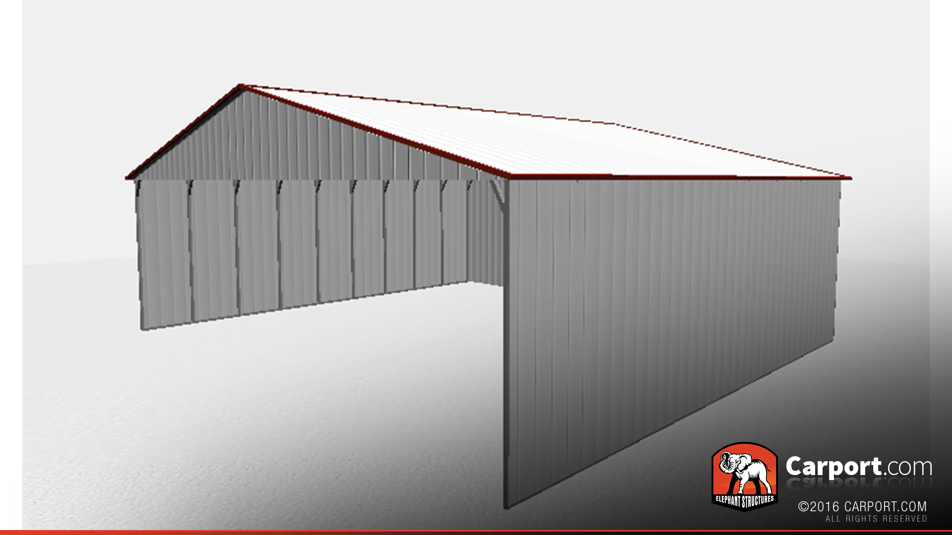 40 X 36 X 12 Partially Enclosed Commercial Carport