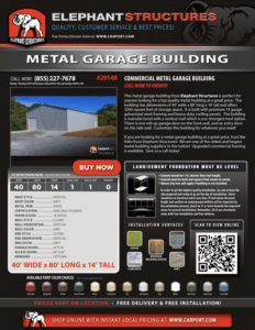 40x80 Commercial Metal Building Garage with Grey Roof