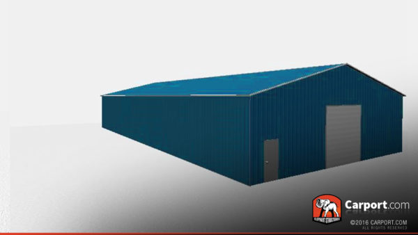 50x100 Commercial Metal Garage with Blue Roof and Blue Walls