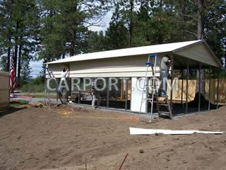 Installing the metal roof and siding