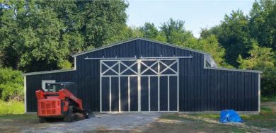 This barn is a large custom commercial building with custom frameouts and extra bracing.