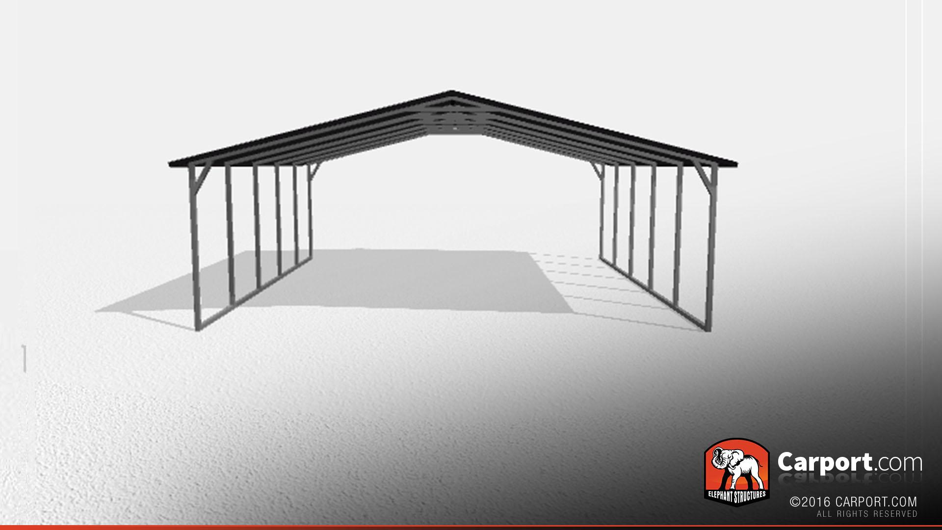 two car steel carport 2 24x21x7 - Steel Carports