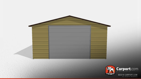 18x21x8 One Car Metal Garage with Brown Roof and Beige Walls