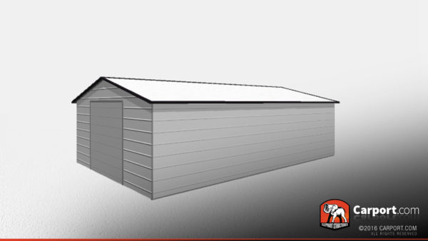 Double Car Steel Garage 1 20x31x8 with grey walls, white roof, and black trim.