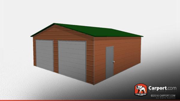 Double Wide Steel Garage 2 24x26x9