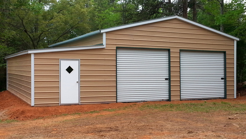 Ridgeline style metal building with one lean to on the side.