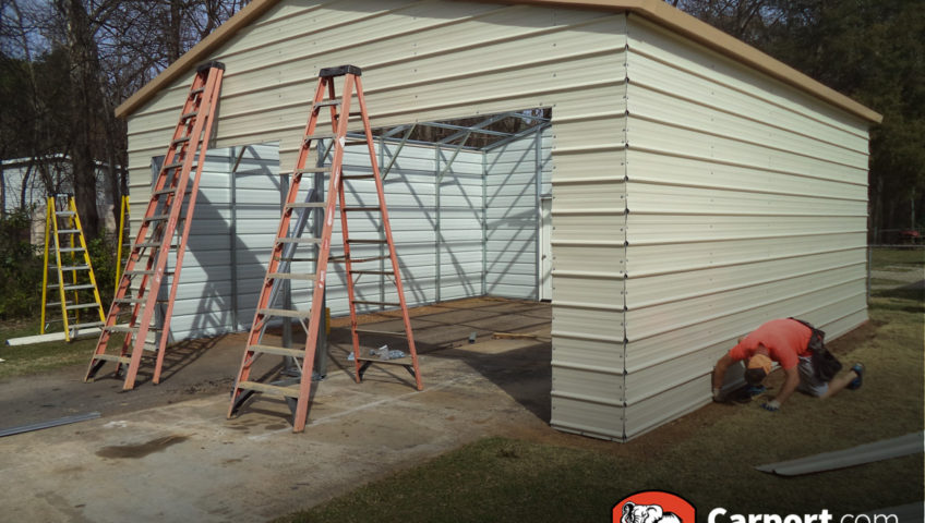 carport garage with ladders