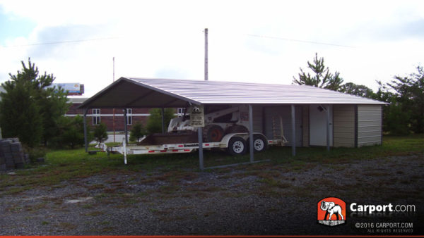 Clearance building, double wide carport with utility shed.