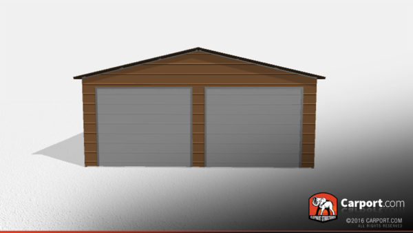 Clearance building, two car metal garage.