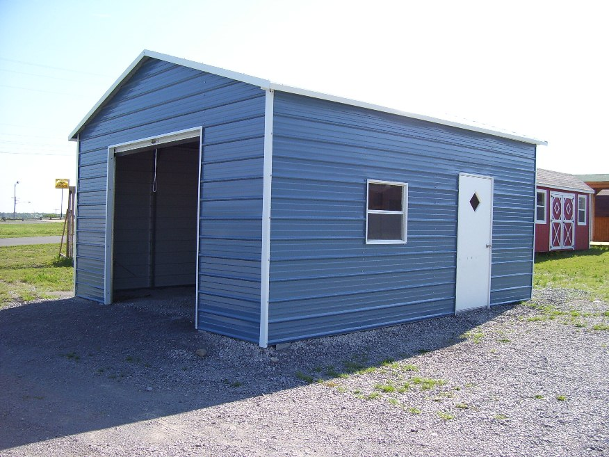 Deluxe one car steel garage with roll up garage doors and one walk in door.